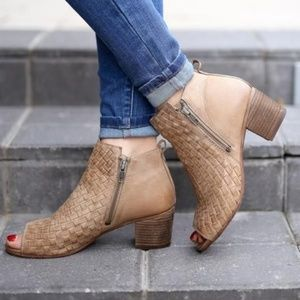 Naughty Monkey Booties Cacey ankle boot woven peep